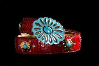 cinturones cobra-rojo-con-turquesa-top-belt-capazonia-rockinchiclifestyle
