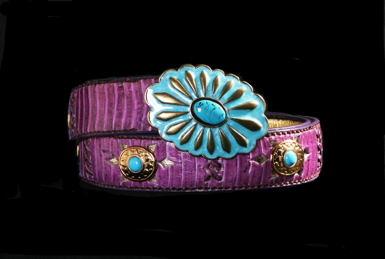cinturones cobra lila con turquesa top belt capazonia rockinchic