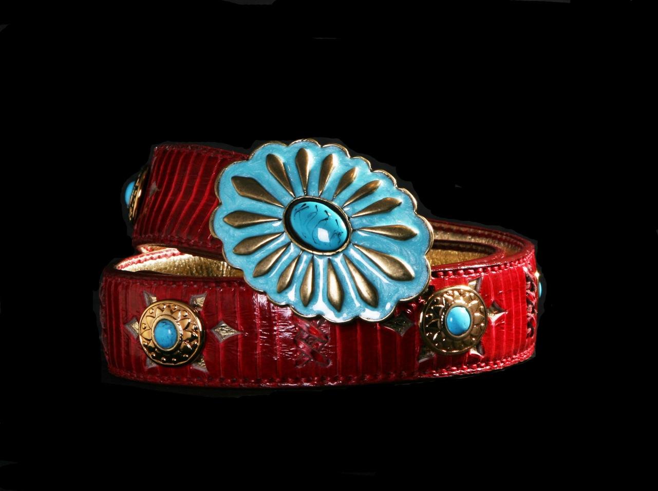 cinturones cobra rojo con turquesa top belt capazonia rockinchic